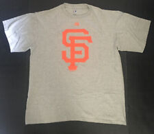 SAN FRANCISCO GIANTS MENS MLB Gray With Orange SF Logo Shirt Majestic Size Large