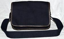 Lands End Navy Blue Canvas with Brown Faux Leather Trim Flap Shoulder Bag