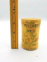 Antique E.B.Millars Millar Cardboard Excelsior Spice Tin Canister Pepper Corns