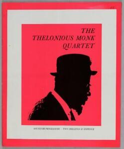 THELONIOUS MONK QUARTET - rare vintage original 1965 UK concert tour program