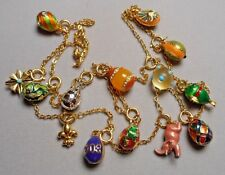 """Joan Rivers Imperial Russian Egg Necklace - 15 Jeweled & Enameled Charms 32"""" - D"""