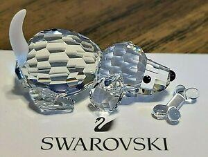 Swarovski Crystal Playing Beagle Puppy Dog Figurine w/ Frosted Tail, BONUS Bone