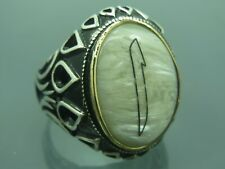 Turkish Handmade 925 Sterling Silver Pencil Work White Pearl Stone Mens Ring