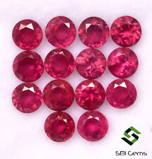 5.74 Cts Natural Ruby Round Cut 4 mm Lot 14 Pcs Calibrated Loose Gemstones GF