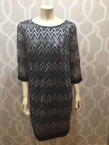 Sandra Darren Black Silver Knit Sheath Dress 3/4 Sleeve Size 14 Knee Lengths New