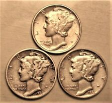 1941 PDS  Set of three Mercury Dimes circulated 90% Silver XF + Extra Fine Plus