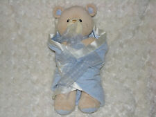 "BABY GUND BEAR TALES #58610 BLUE SWADDLED BEAR CUB 12"" PLUSH NWOT GIFT READY!"