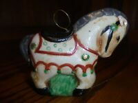 Vintage Ceramic Horse Christmas Tree Bell Ornament/ Hand-Crafted & Painted    93