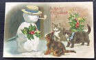 vintage and Embossed cat kitten Christmas Postcard snowman with pipe