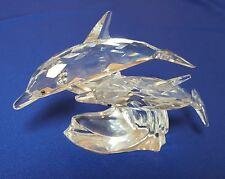 Swarovski Crystal Figurine - Retired - 1990 'Lead Me' Dolphin mother & baby