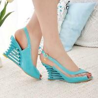Women's High Heel Wedge Ankle Strap Platform Open Toe Sandals Summer Party Shoes