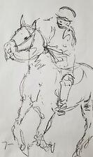 JOSE TRUJILLO - HUGE Expressive CHARCOAL DRAWING ORIGINAL Figurative Polo Horse
