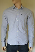 New abercrombie & fitch deer brook double blanche à rayures chemise rayée l rrp £ 82