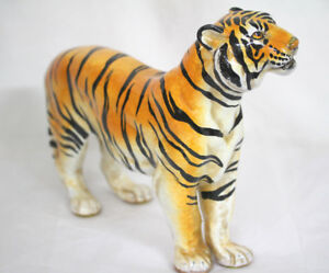 Highly Detailed Ceramic Tiger Figurine Hand Painted