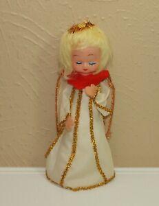 Vintage Christmas ANGEL TREE TOP Topper w/ Plastic Head & Paper Body White Dress