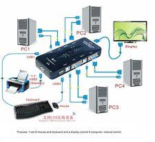 Black 4 Ports KVM USB 2.0 Keyboard Mouse Switch Box Switcher Computer PC Monitor