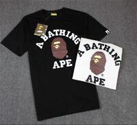 Men BAPE A BATHING APE T-shirt Crew Neck Monkey Head Tee Short Sleeve Tops