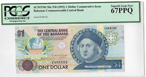 BAHAMAS 1992 1 dollar comemorative issue, PCGS 67PPQ.