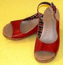 Crocs A-Leigh Red Leather Peep Toe Cork Heel Slingback Wedges - WOMEN'S 10  CUTE