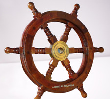 "18"" Durable Wooden Brass Ship Wheel For Nautical Pirate Themed Home Decor"