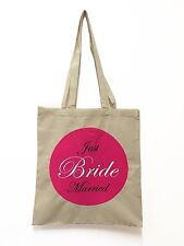Just Married Bride Wedding Cotton Tote Bags - end of line stock