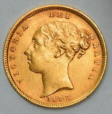 NICE DETAILED 1884 Queen Victoria Young Head Shield Gold Half Sovereign