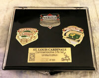 ST LOUIS CARDINALS BUSCH STADIUM SPORTSMAN PARK PIN SET OF 3 MIB VHTF