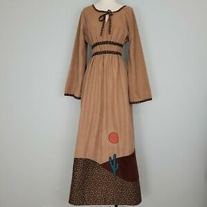 Vtg 70s Patchwork Prairie Cottagecore Maxi Dress Sz M Calico Cactus Sun Union Ma
