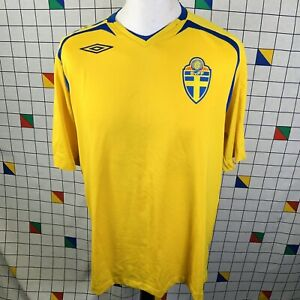 Sweden 2007-2008 Yellow & Blue Stripe Home Football Shirt By Umbro Mens Size XL