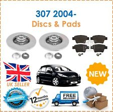 For Peugeot 307 2004- 2 Rear Coated Brake Discs 30MM Inner Bearing + Pads Set