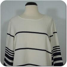 SAINT TROPEZ West Women's Striped Blouse, 3/4 Sleeves, size XL