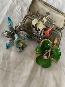 Three Gorgeous Vintage 1950s/60s Enamel And Marcasite Brooches