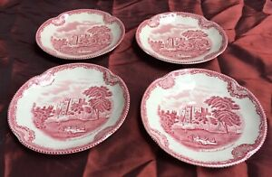 Charming Antique Johnson Brothers England Ironstone Rose Pink Saucer -Set Of 4