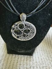 Black And Silver Pendant With Clear Crystals Rope Chain 18 Inches With 3 Inch...