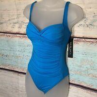 La Blanca One Piece Island Goddess Rouched Blue Swimsuit Size 4 $119