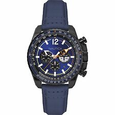 Orologio Nautica Uomo Watch Man Uhr Pelle Crono Blu NAI22507G NMX 1500 Brunito