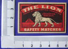 Zündholzetiketten Safety Matches THE LION Johnköping Schweden  Löwe