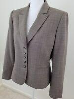TAHARI Arthur S Levine~Women's Sz 12~Brown Blazer Career Work Wool Blend Jacket.