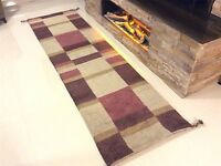 Handknotted Modern Contemporary 100% Wool PLUM BEIGE Rug Runner 70x240cm -60%OFF
