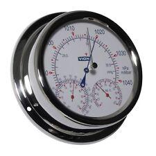 Wetterstation analog Vion Barometer Thermometer Hygrometer Edelstahl 150mm