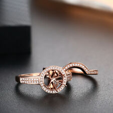 Solid 18k Rose Gold Flawless Ring Sets Round 6mm to 6.5mm Natural SI2 Diamonds