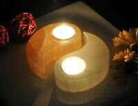 White & Orange Selenite Ying Yong Style Tea Light Candle Holders | Home Decor