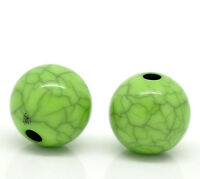PD: 100 Grün Rund Acryl Spacer Crackle Perlen Beads Kugeln 10mm