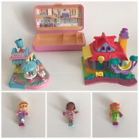 Vintage Polly Pocket Bluebird Lot Dolls Mimi's Cafe Kitty Cat House with 3 Dolls