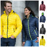 Unisex Padded Jacket Coat Box Quilt Puffer Hooded Bubble Neck Zip Down Winter