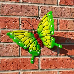 BUTTERFLY LARGE NEW GREEN METAL BUTTERFLIES WALL ART OUTDOOR GARDEN DECORATION