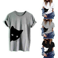 Cotton Blouse Cat Print T-shirt Summer Short Sleeve Hipster Tops Women Tee