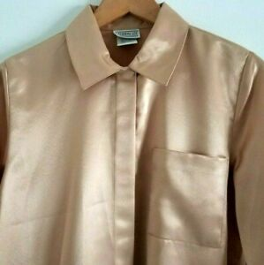 Vintage Lauren Lee Blouse Small S Gold Satin Liquid Long Sleeve Button Up Solid