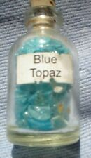 1 x 5 MM BOTTLE OF SMALL  GEMSTONES BLUE TOPAZ WITH CORK STOPPER