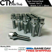 20 PC CHROME 14X1.5 CONICAL SEAT LUG BOLTS 1.11'' 28MM THREAD FIT AUDI MERCEDES
